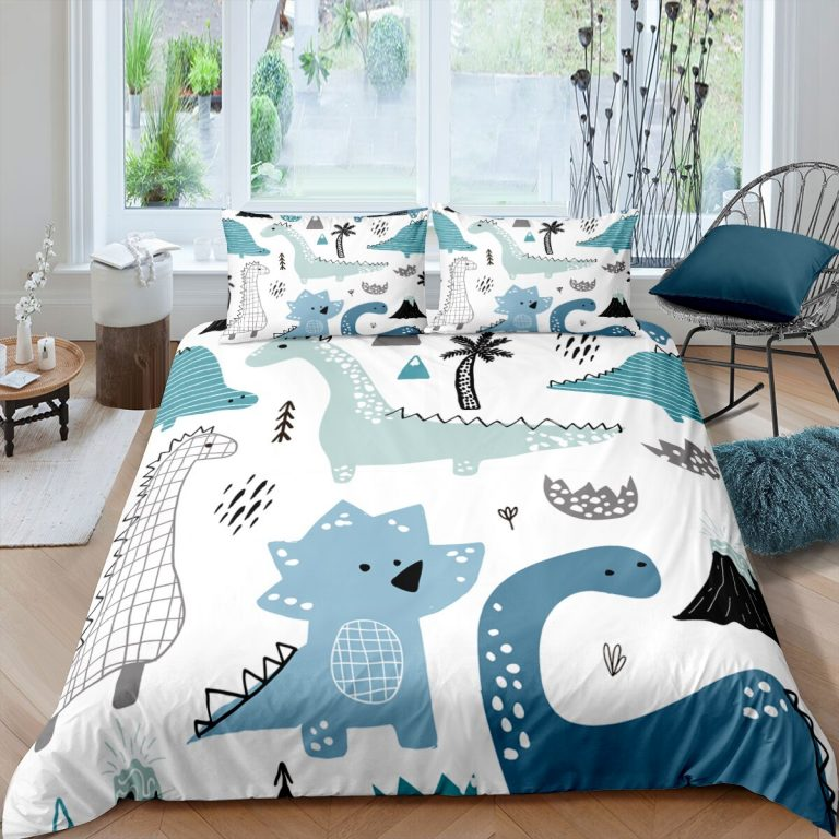 Bedding Set Duvet Cover Childish Dinosaur Cartoon Printed Bedroom Clothes for Kids With Pillowcase Double Single 4 / Shop Social Online Store