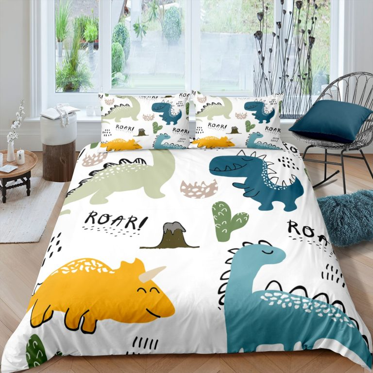 Bedding Set Duvet Cover Childish Dinosaur Cartoon Printed Bedroom Clothes for Kids With Pillowcase Double Single / Shop Social Online Store