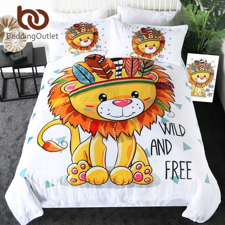 BeddingOutlet Lion Bedding Set King Queen Cartoon Duvet Cover Tribal Animal Kids Bed Set Geometric Bed / Shop Social Online Store
