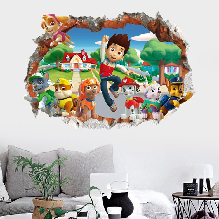 Cartoon 3D Paw Patrol Kids Removable Wall Stickers Decals Nursery Home Decor Vinyl Mural for Boys 2 / Shop Social Online Store