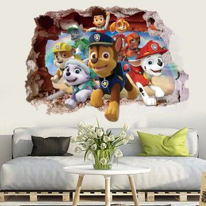 Cartoon 3D Paw Patrol Kids Removable Wall Stickers Decals Nursery Home Decor Vinyl Mural for Boys / Shop Social Online Store