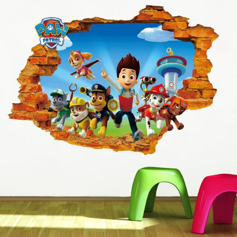 Cartoon 3D Paw Patrol Kids Removable Wall Stickers Decals Nursery Home Decor Vinyl Mural for Boys 4 / Shop Social Online Store