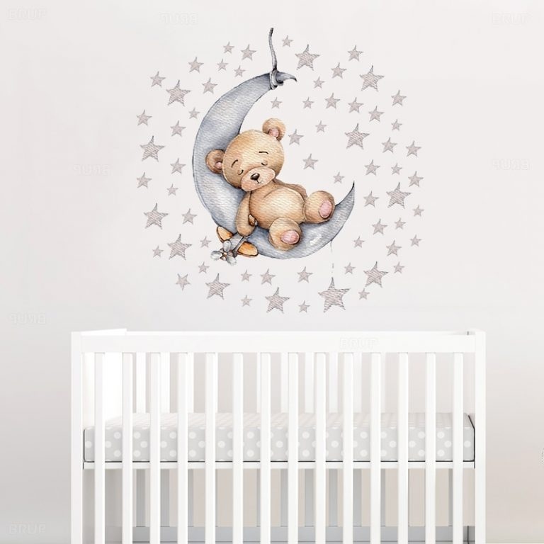 Cartoon Teddy Bear Sleeping on the Moon and Stars Wall Stickers for Kids Room Baby Room 1 / Shop Social Online Store