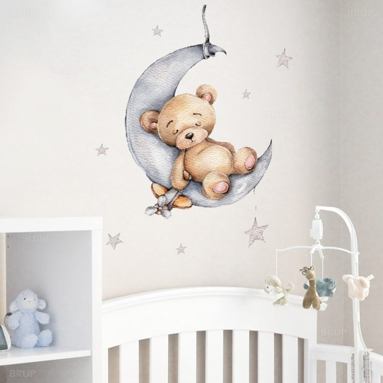 Cartoon Teddy Bear Sleeping on the Moon and Stars Wall Stickers for Kids Room Baby Room 2 / Shop Social Online Store