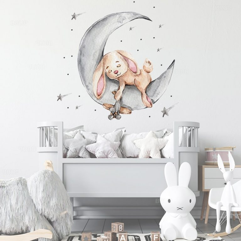 Cartoon Teddy Bear Sleeping on the Moon and Stars Wall Stickers for Kids Room Baby Room 3 / Shop Social Online Store