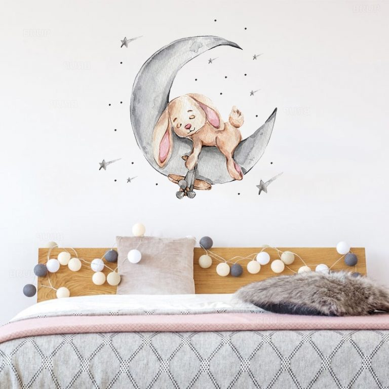 Cartoon Teddy Bear Sleeping on the Moon and Stars Wall Stickers for Kids Room Baby Room 4 / Shop Social Online Store