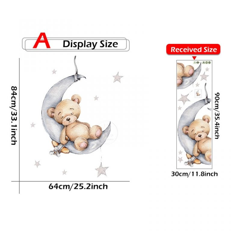 Cartoon Teddy Bear Sleeping on the Moon and Stars Wall Stickers for Kids Room Baby Room 5 / Shop Social Online Store