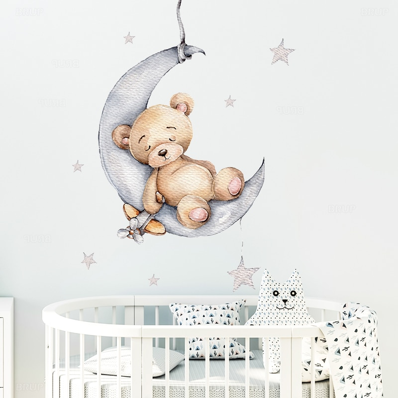 Teddy Bear on the Moon & Stars Wall Stickers for Kids Room