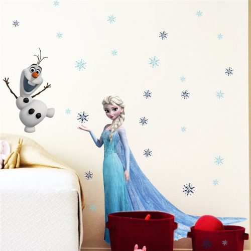 Cartoon diy frozen princess Elsa Anna wall stickers girl Children room background decoration removable kids bedroom 1 / Shop Social Online Store