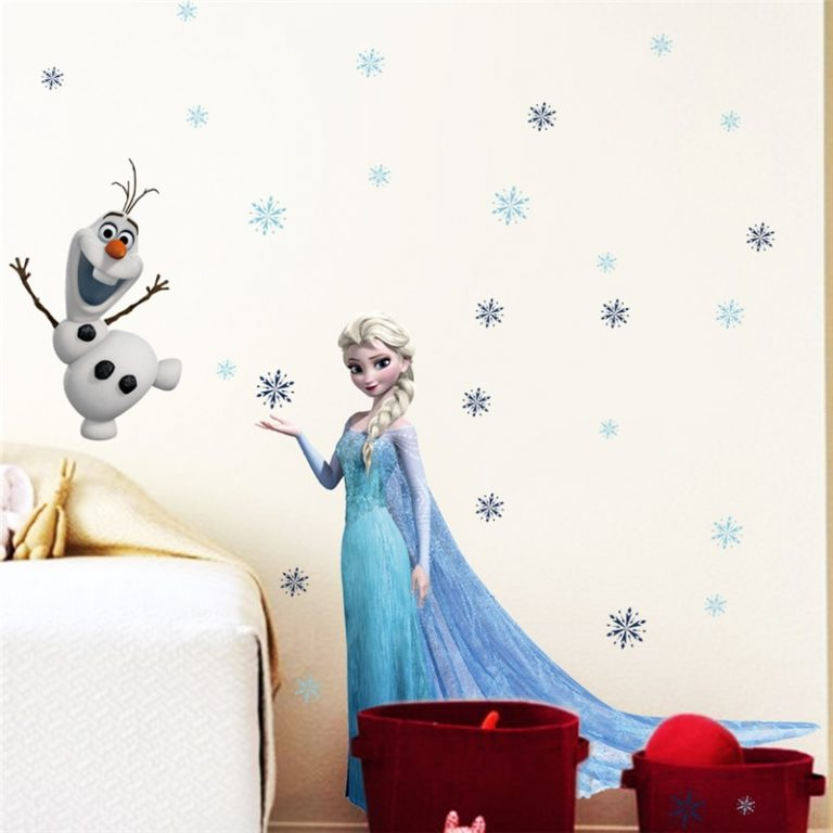 Cartoon diy frozen princess Elsa Anna wall stickers girl Children room background decoration removable kids bedroom 1 / Shop Social Online Store