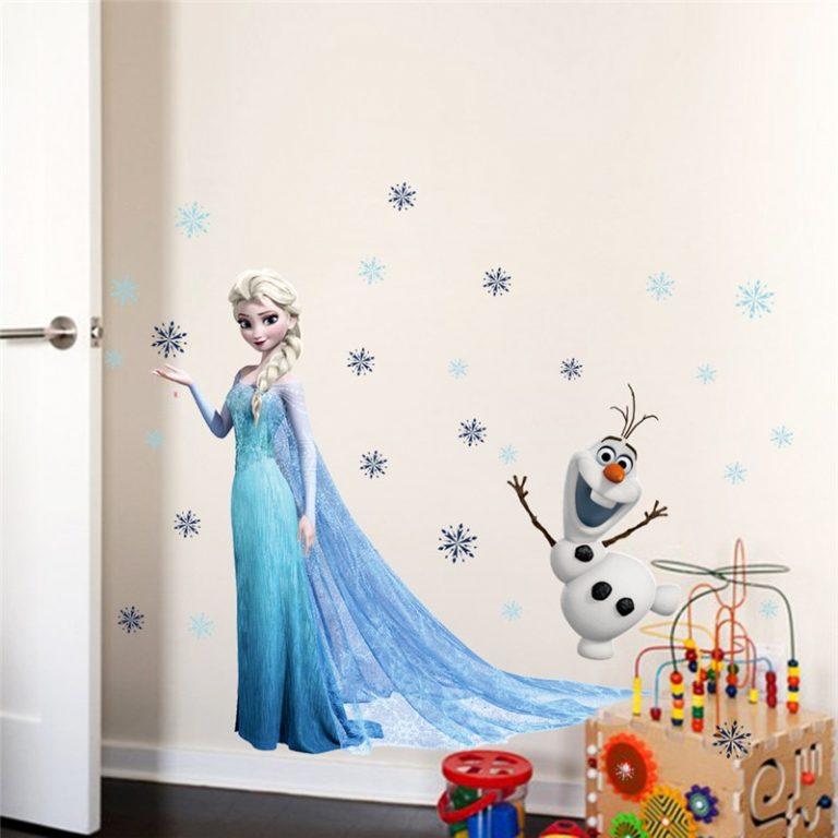 Cartoon diy frozen princess Elsa Anna wall stickers girl Children room background decoration removable kids bedroom 2 / Shop Social Online Store