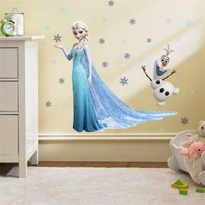 Cartoon diy frozen princess Elsa Anna wall stickers girl Children room background decoration removable kids bedroom / Shop Social Online Store