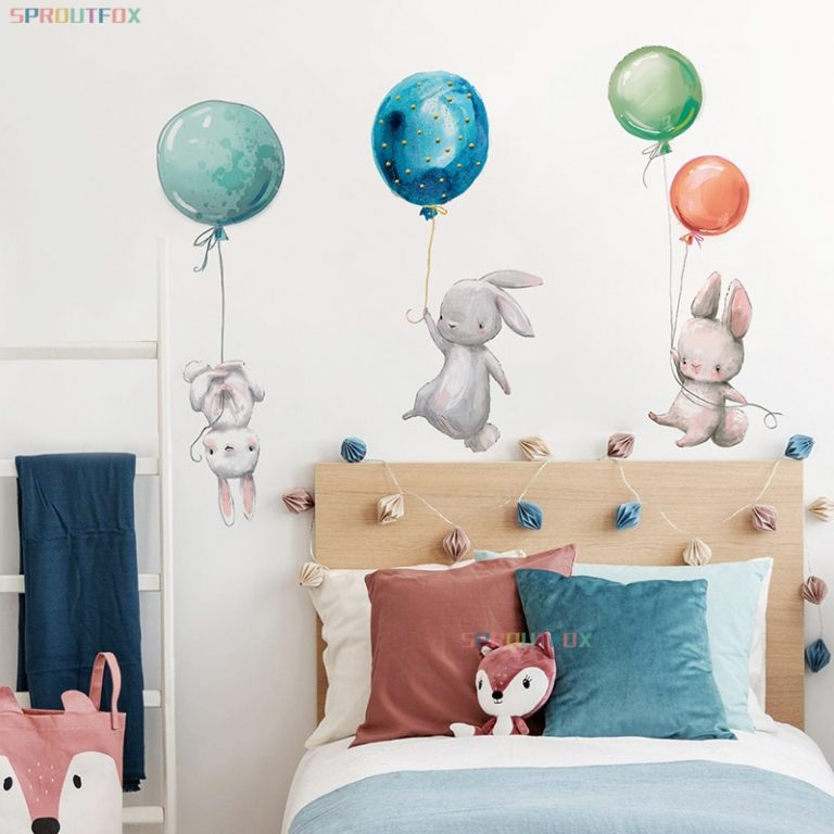 Colorful Balloon Rabbits Bedroom Wall Stickers For Kids Room Decoration Grey Bunny Wall Stickers for children 1 / Shop Social Online Store
