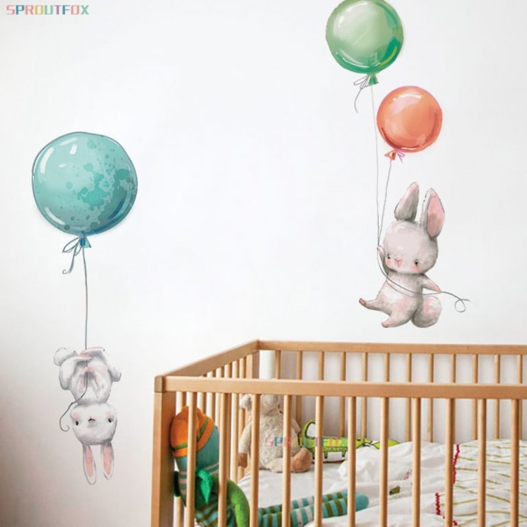 Colorful Balloon Rabbits Bedroom Wall Stickers For Kids Room Decoration Grey Bunny Wall Stickers for children 2 / Shop Social Online Store