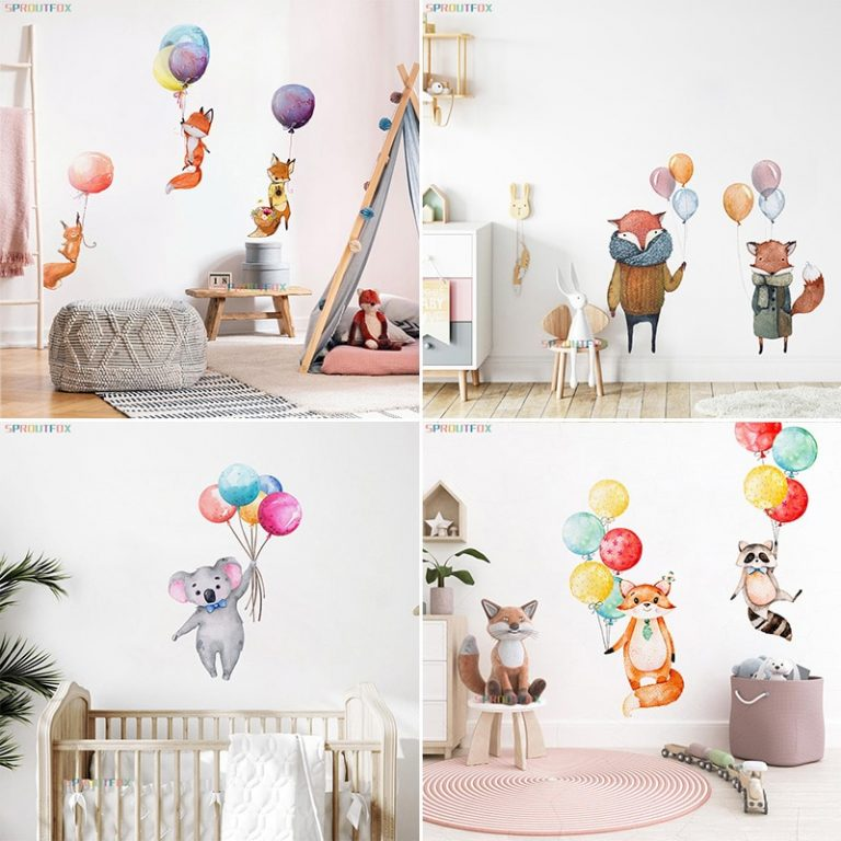 Colorful Balloon Rabbits Bedroom Wall Stickers For Kids Room Decoration Grey Bunny Wall Stickers for children 3 / Shop Social Online Store