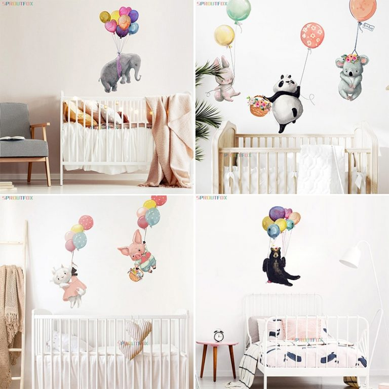 Colorful Balloon Rabbits Bedroom Wall Stickers For Kids Room Decoration Grey Bunny Wall Stickers for children 4 / Shop Social Online Store