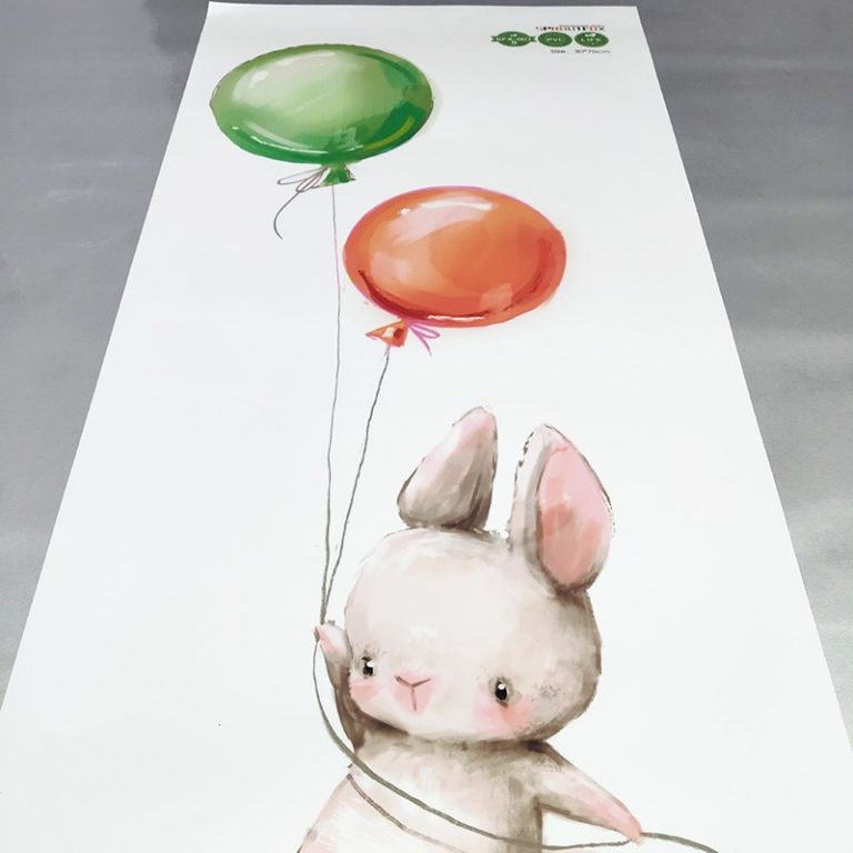 Colorful Balloon Rabbits Bedroom Wall Stickers For Kids Room Decoration Grey Bunny Wall Stickers for children 5 / Shop Social Online Store