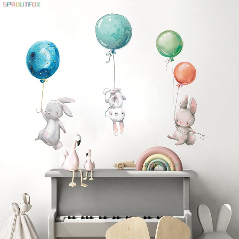 Colorful Balloon Rabbits Bedroom Wall Stickers For Kids Room
