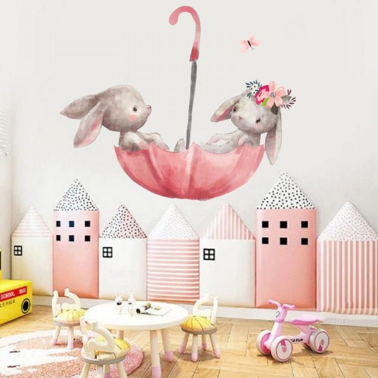 Cute Grey Bunny Ballet Rabbit Wall Stickers for Kids Room Cat Baby Nursery Wall Decals Pink 1 / Shop Social Online Store