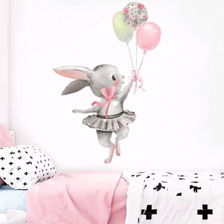 Cute Grey Bunny Ballet Rabbit Wall Stickers for Kids Room Cat Baby Nursery Wall Decals Pink 2 / Shop Social Online Store