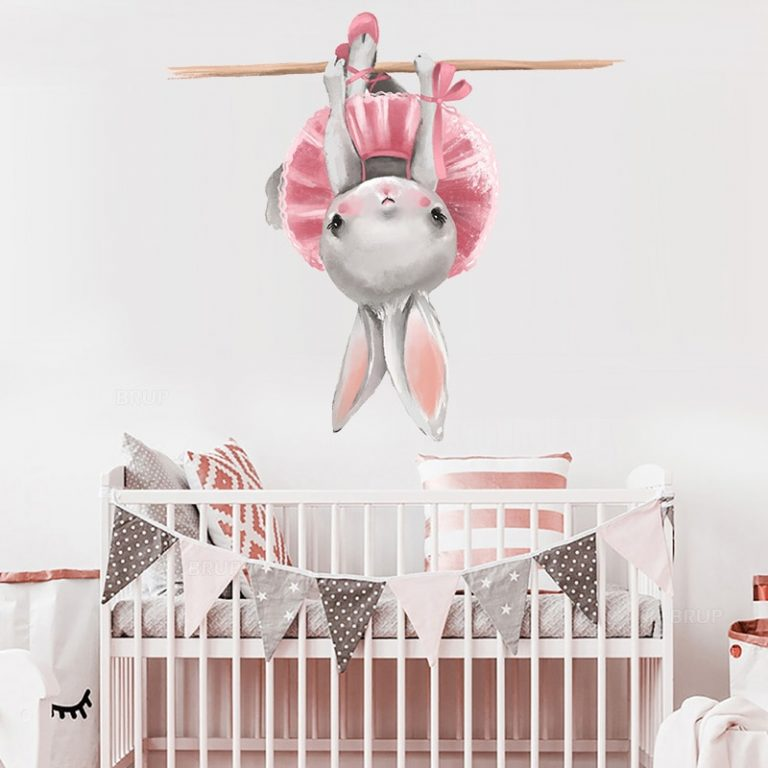 Cute Grey Bunny Ballet Rabbit Wall Stickers for Kids Room Cat Baby Nursery Wall Decals Pink 3 / Shop Social Online Store