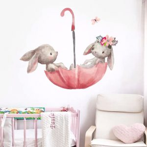 Cute Grey Bunny Ballet Rabbit Wall Stickers for Kids Room