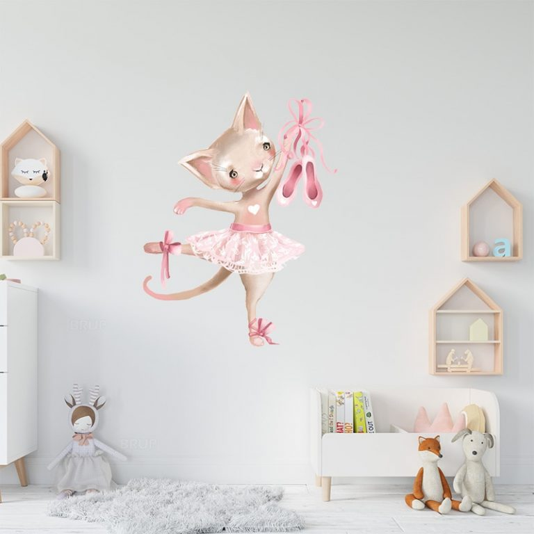 Cute Grey Bunny Ballet Rabbit Wall Stickers for Kids Room Cat Baby Nursery Wall Decals Pink 4 / Shop Social Online Store