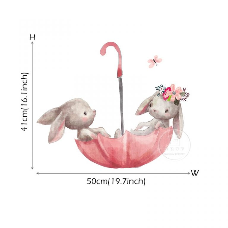 Cute Grey Bunny Ballet Rabbit Wall Stickers for Kids Room Cat Baby Nursery Wall Decals Pink 5 / Shop Social Online Store