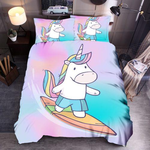 Denisroom Unicorn Duvet Cover set Kids Bedding Set Boys Girls Bedspreads Comforters Cartoon Bed set WQ02 1 / Shop Social Online Store