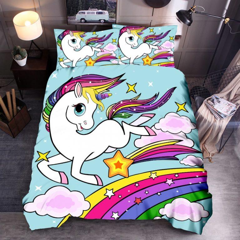 Denisroom Unicorn Duvet Cover set Kids Bedding Set Boys Girls Bedspreads Comforters Cartoon Bed set WQ02 3 / Shop Social Online Store