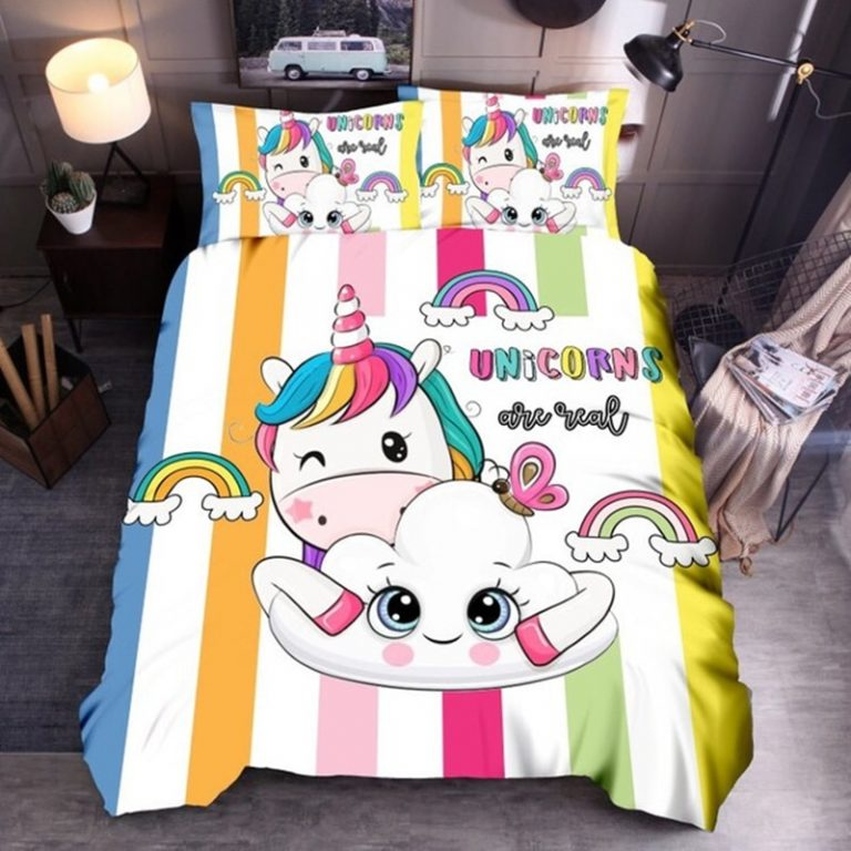 Denisroom Unicorn Duvet Cover set Kids Bedding Set Boys Girls Bedspreads Comforters Cartoon Bed set WQ02 5 / Shop Social Online Store