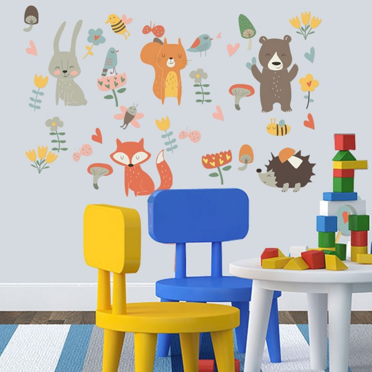 Forest Animal Party Wall Sticker for kids rooms bedroom decorations wallpaper Mural home Art Decals Cartoon 4 / Shop Social Online Store