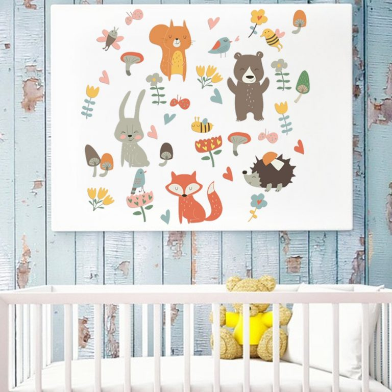 Forest Animal Party Wall Sticker for kids rooms bedroom decorations wallpaper Mural home Art Decals Cartoon 5 / Shop Social Online Store