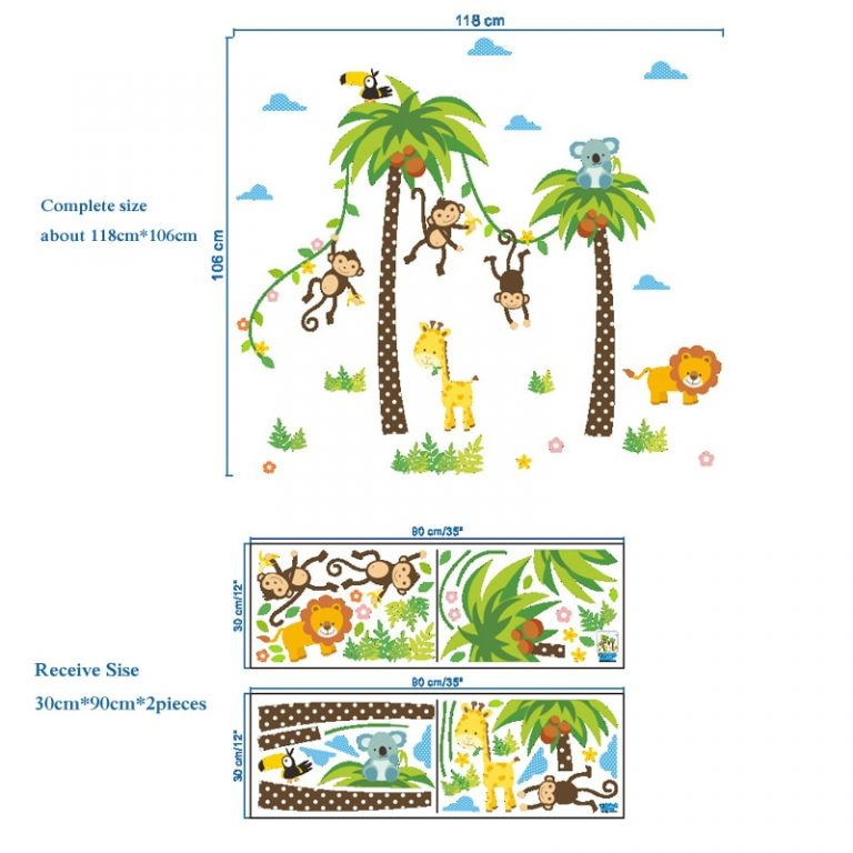 Giraffe Lion Monkey Palm Tree Forest Animals wall stickers for kids room Children Bedroom Wall Decals 1 / Shop Social Online Store