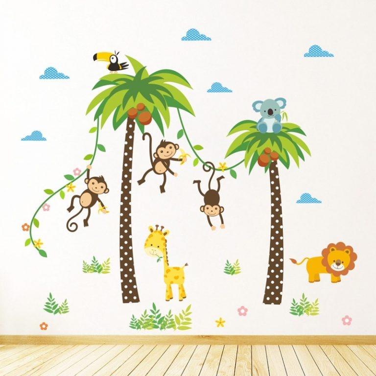 Giraffe Lion Monkey Palm Tree Forest Animals wall stickers for kids room Children Bedroom Wall Decals 2 / Shop Social Online Store