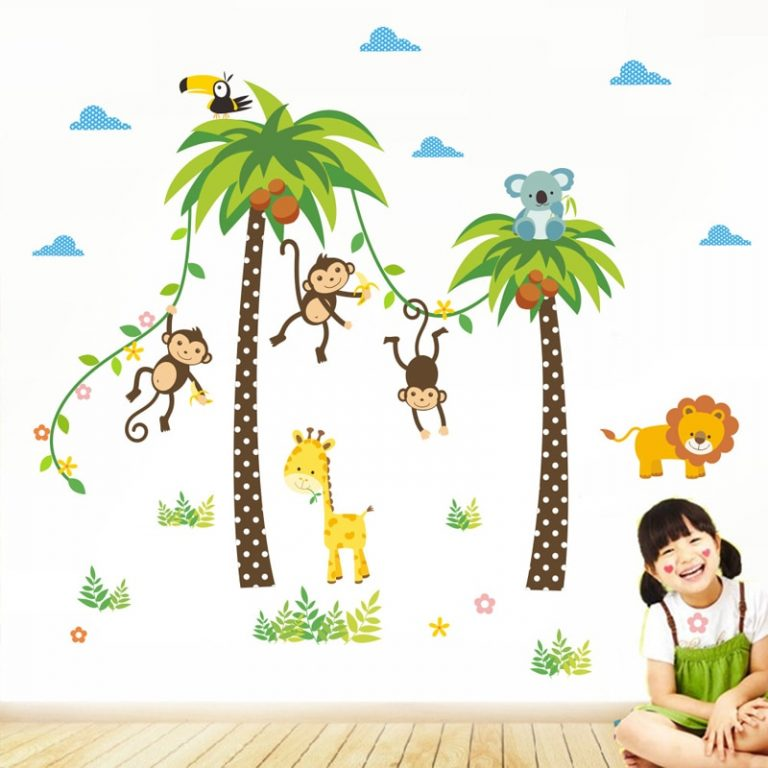 Giraffe Lion Monkey Palm Tree Forest Animals wall stickers for kids room Children Bedroom Wall Decals 3 / Shop Social Online Store