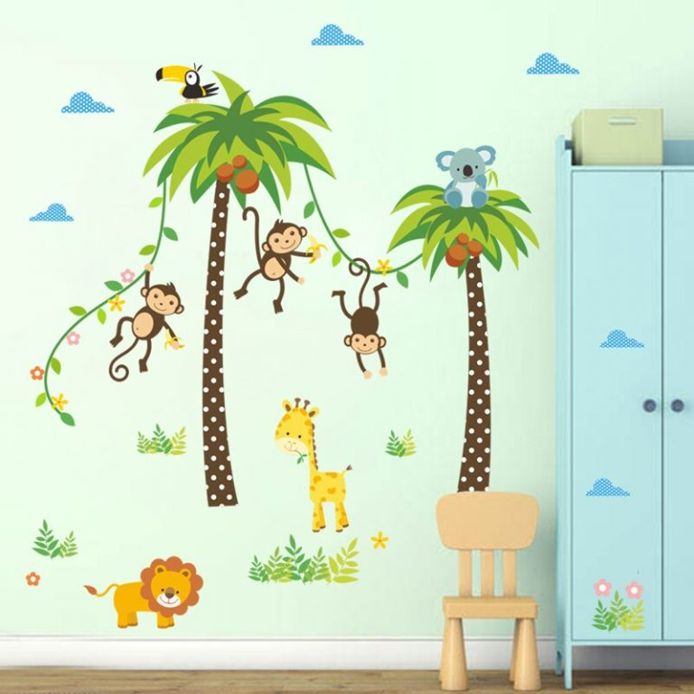 Giraffe Lion Monkey Palm Tree Forest Animals wall stickers for kids room Children Bedroom Wall Decals 4 / Shop Social Online Store