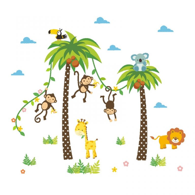 Giraffe Lion Monkey Palm Tree Forest Animals wall stickers for kids room Children Bedroom Wall Decals 5 / Shop Social Online Store