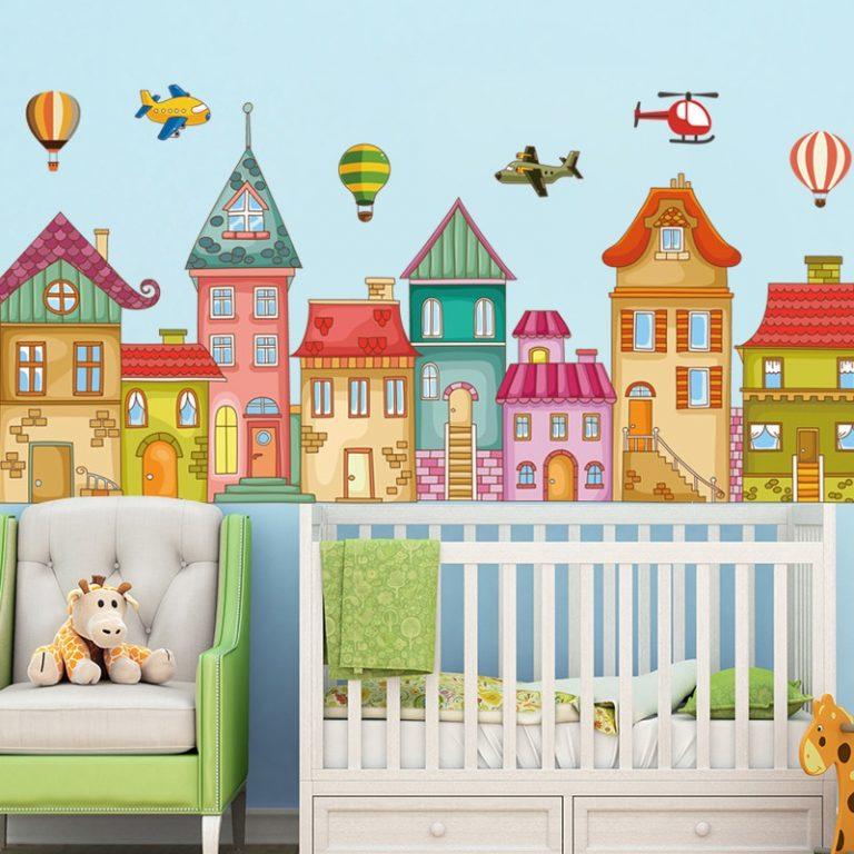 Hot air balloon Cute Wall Sticker Kids rooms Decor Vinyl Wall Decals Home Decoration Children Bedroom 4 / Shop Social Online Store