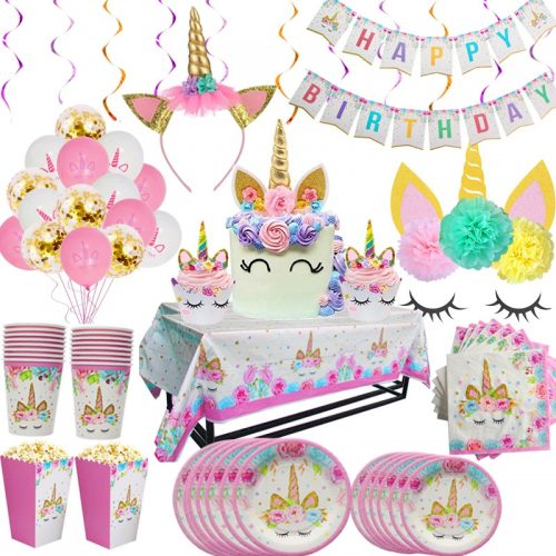 Rainbow Unicorn Birthday Party Disposable Tableware Set Serves 8 Kids