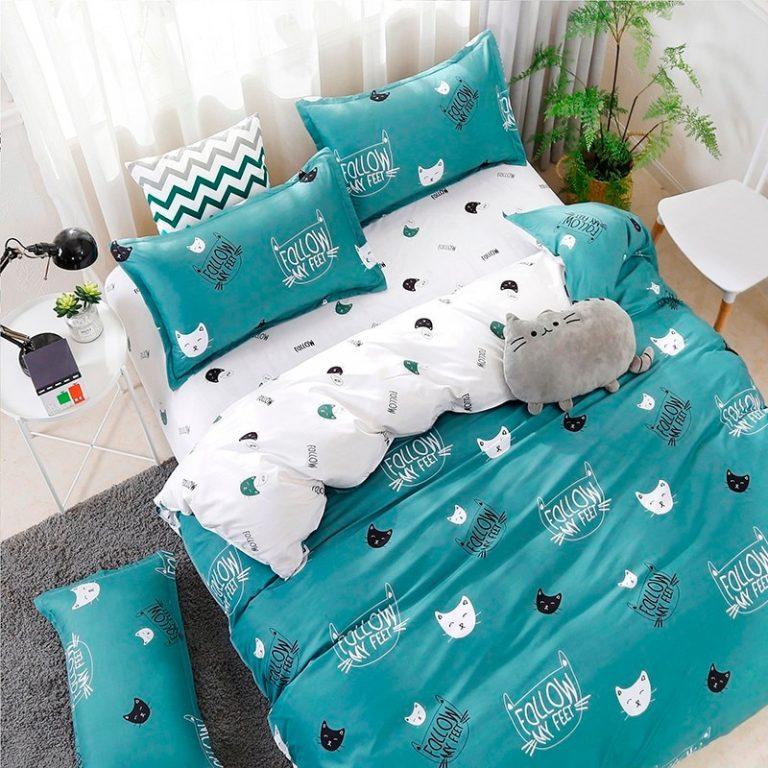 Solstice Home Textile Cyan Cute Cat Kitty Duvet Cover Pillow Case Bed Sheet Boy Kid Teen 2 / Shop Social Online Store