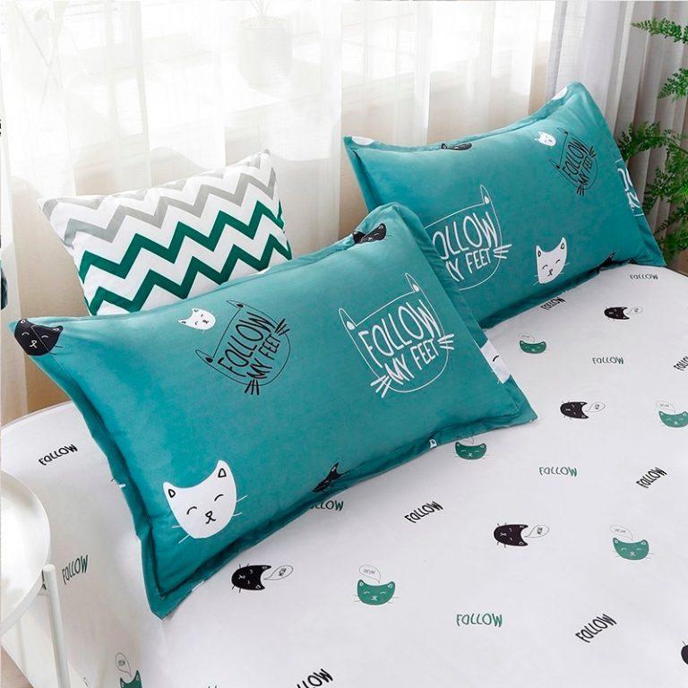 Solstice Home Textile Cyan Cute Cat Kitty Duvet Cover Pillow Case Bed Sheet Boy Kid Teen 3 / Shop Social Online Store
