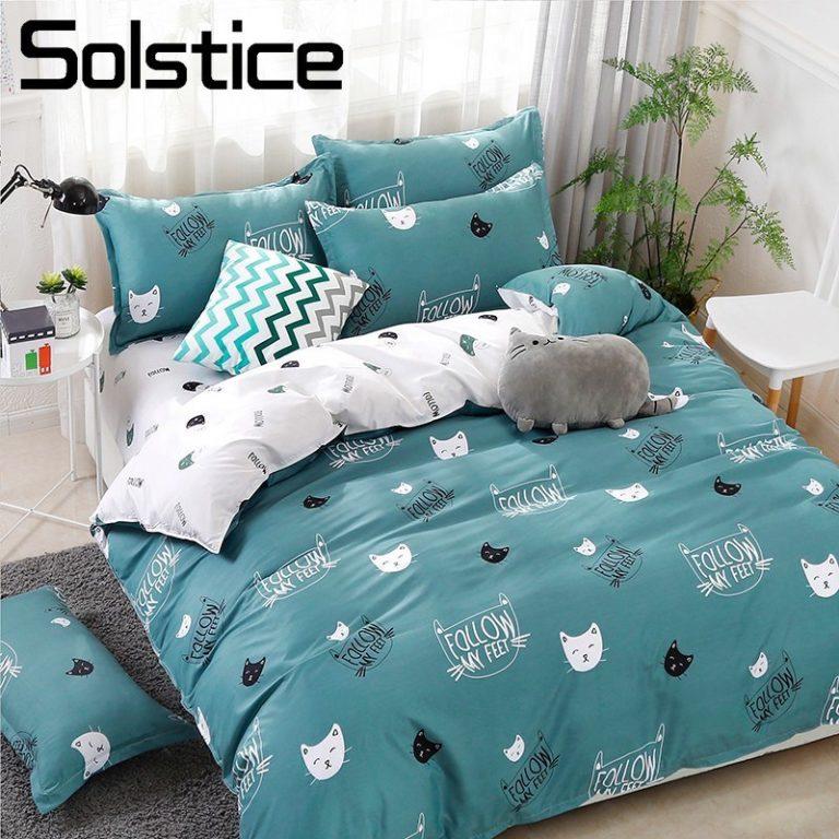 Solstice Home Textile Cyan Cute Cat Kitty Duvet Cover Pillow Case Bed Sheet Boy Kid Teen / Shop Social Online Store