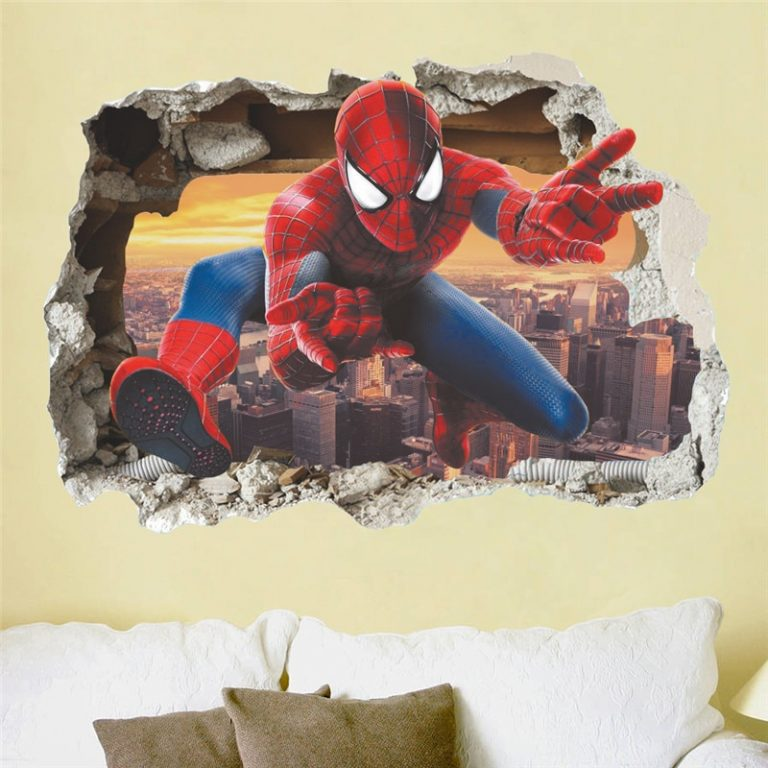 Spiderman Super Heroes Wall Stickers For Kids Room Decoration Home Bedroom PVC Decor Cartoon Movie Mural 1 / Shop Social Online Store