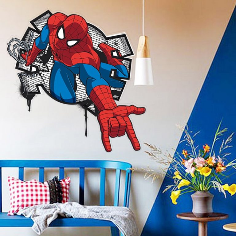 Spiderman Super Heroes Wall Stickers For Kids Room Decoration Home Bedroom PVC Decor Cartoon Movie Mural 3 / Shop Social Online Store