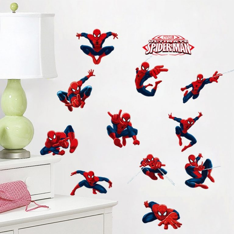 Spiderman Super Heroes Wall Stickers For Kids Room Decoration Home Bedroom PVC Decor Cartoon Movie Mural 4 / Shop Social Online Store