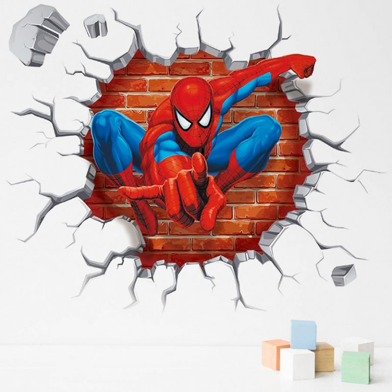 Spiderman Super Heroes Wall Stickers For Kids Room Decoration Home Bedroom PVC Decor Cartoon Movie Mural 5 / Shop Social Online Store