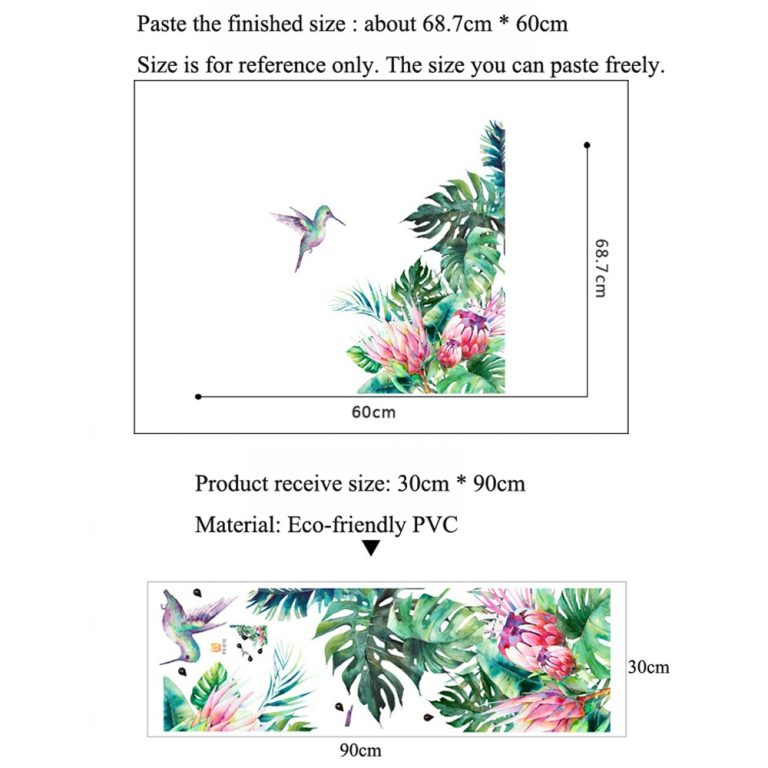 Tropical leaves flowers bird wall stickers bedroom living room decoration mural home decor decals removable stickers 1 / Shop Social Online Store