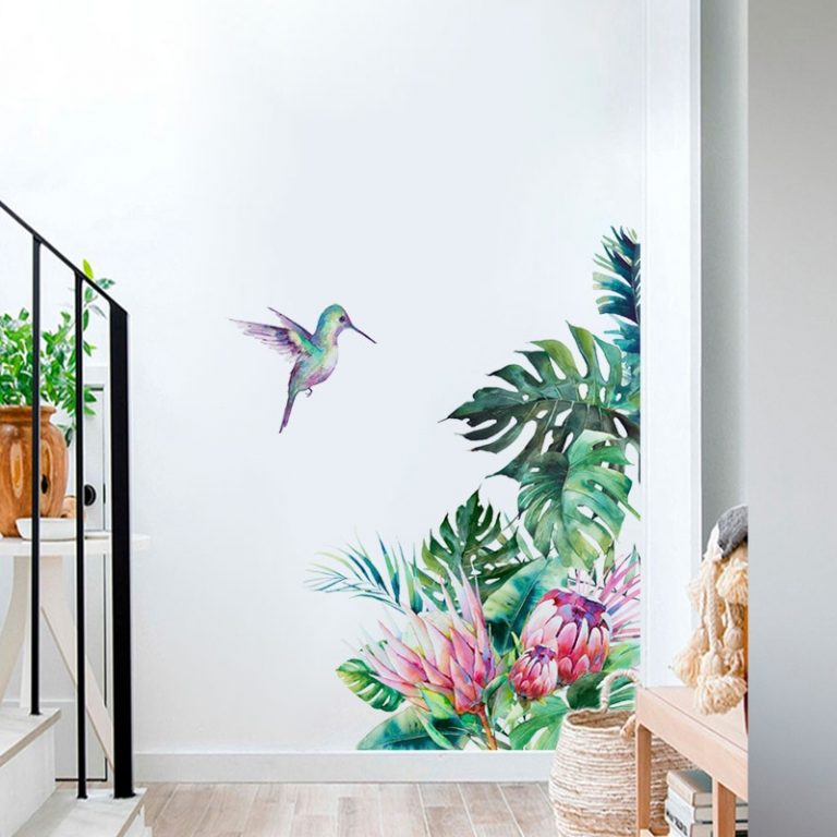 Tropical leaves flowers bird wall stickers bedroom living room decoration mural home decor decals removable stickers 2 / Shop Social Online Store