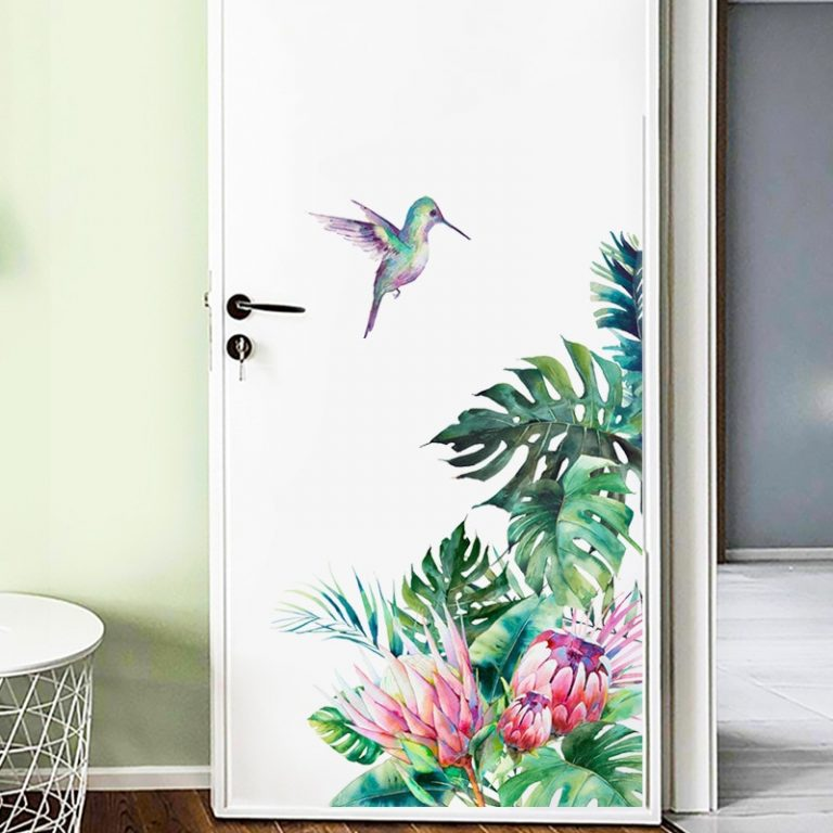 Tropical leaves flowers bird wall stickers bedroom living room decoration mural home decor decals removable stickers 3 / Shop Social Online Store